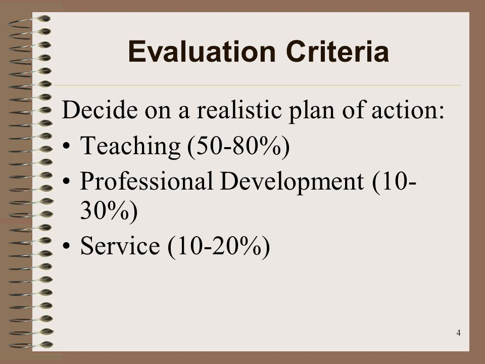 4 Evaluation Criteria Decide on a realistic plan of action: Teaching (50-80%) Professional Development (10- 30%) Service (10-20%)