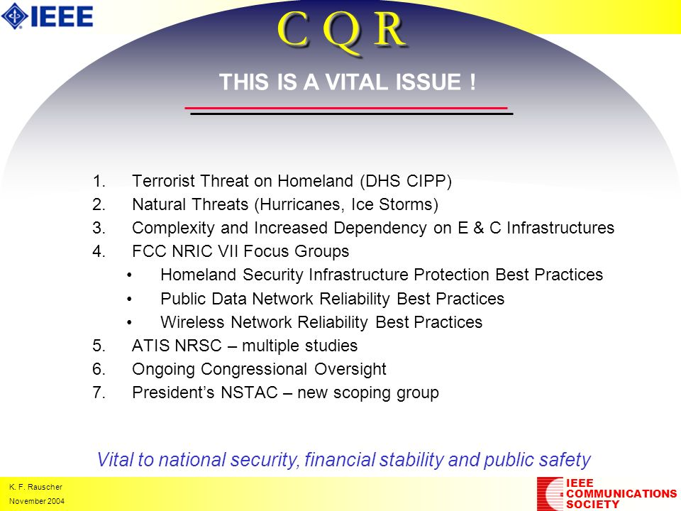 K. F. Rauscher November 2004 C Q R 1. 1.Terrorist Threat on Homeland (DHS CIPP) 2. 2.Natural Threats (Hurricanes, Ice Storms) 3. 3.Complexity and Incr
