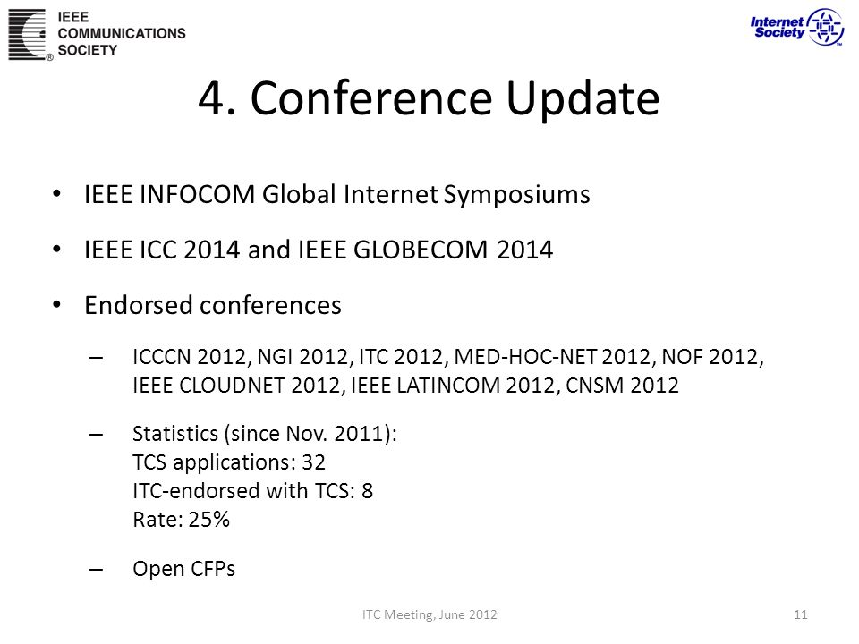 4. Conference Update IEEE INFOCOM Global Internet Symposiums IEEE ICC 2014 and IEEE GLOBECOM 2014 Endorsed conferences – ICCCN 2012, NGI 2012, ITC 201