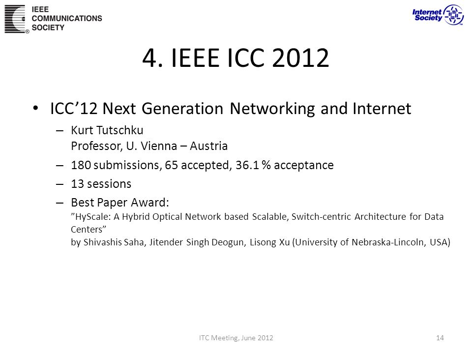 4.IEEE ICC 2012 ICC12 Next Generation Networking and Internet – Kurt Tutschku Professor, U.
