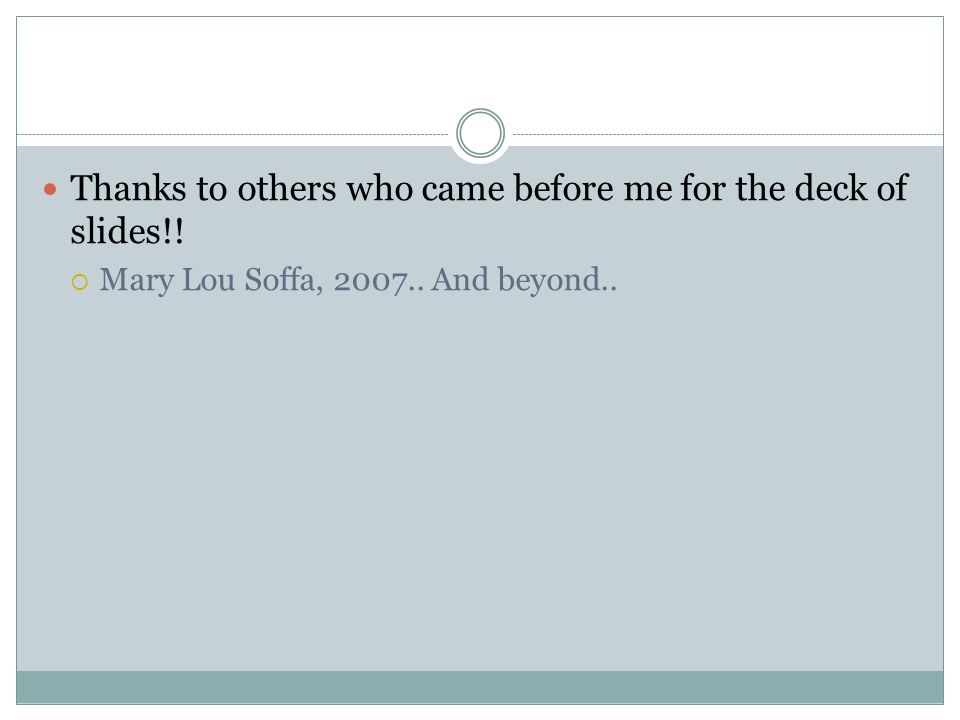 Thanks to others who came before me for the deck of slides!! Mary Lou Soffa, 2007.. And beyond..