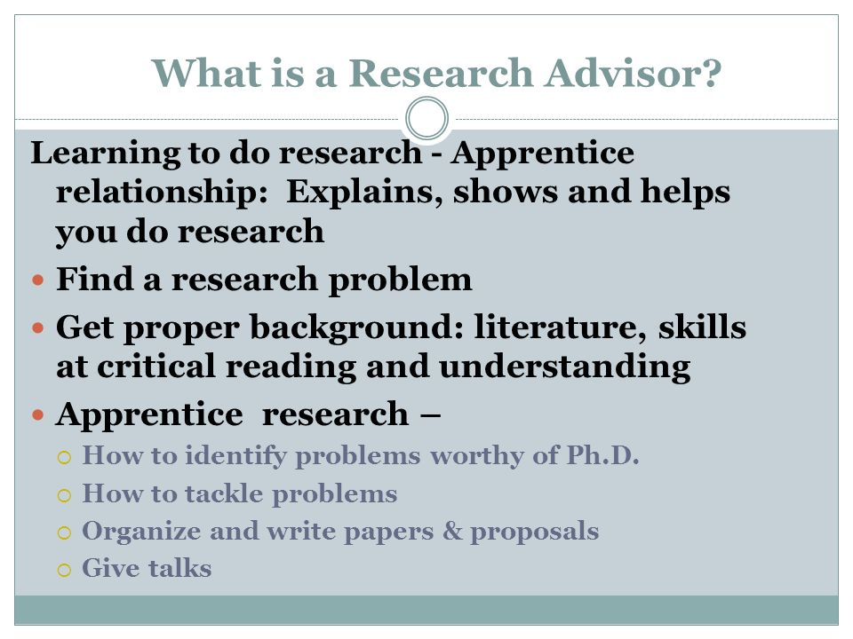 What is a Research Advisor.