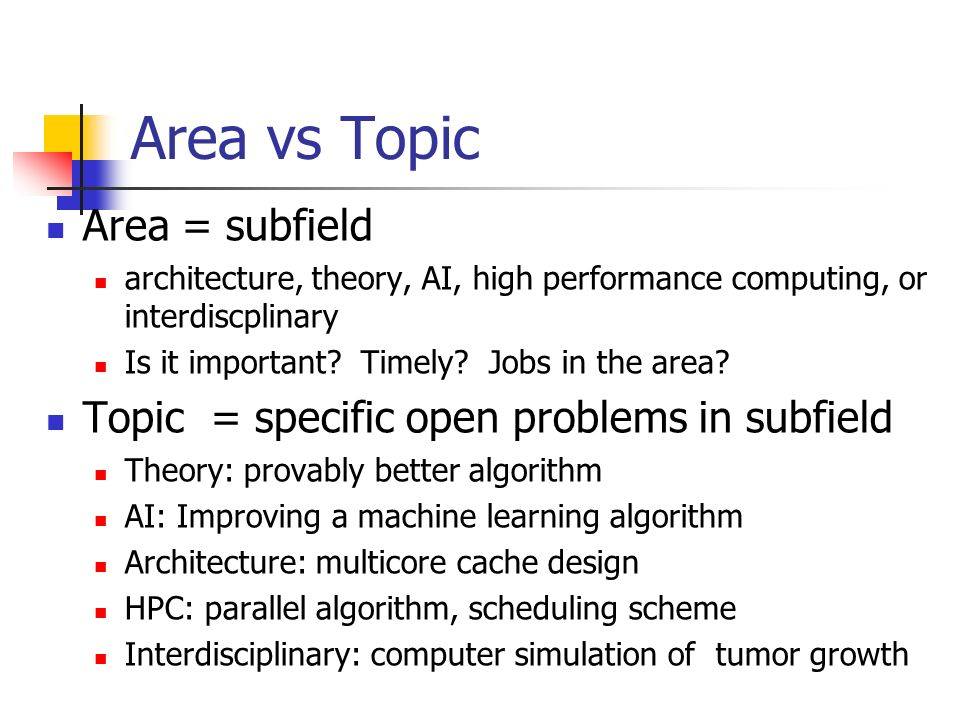 Area vs Topic Area = subfield architecture, theory, AI, high performance computing, or interdiscplinary Is it important.