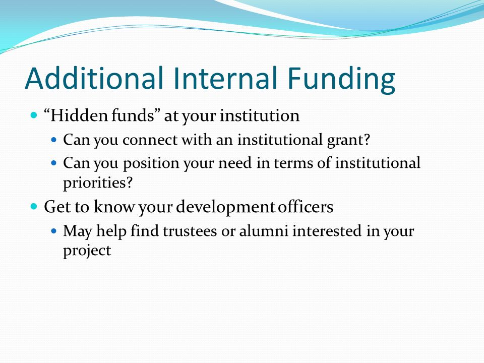 Additional Internal Funding Hidden funds at your institution Can you connect with an institutional grant? Can you position your need in terms of insti