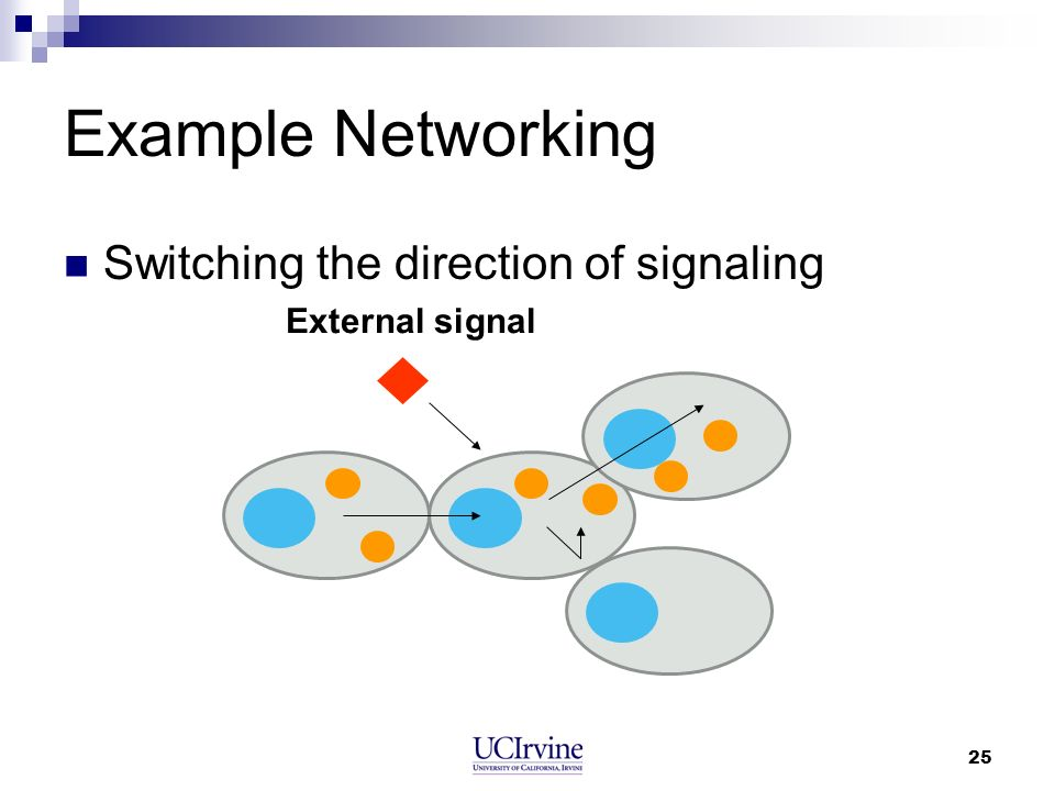 25 Example Networking Switching the direction of signaling External signal