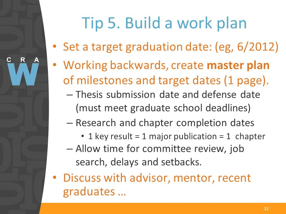 12 Set a target graduation date: (eg, 6/2012) Working backwards, create master plan of milestones and target dates (1 page).