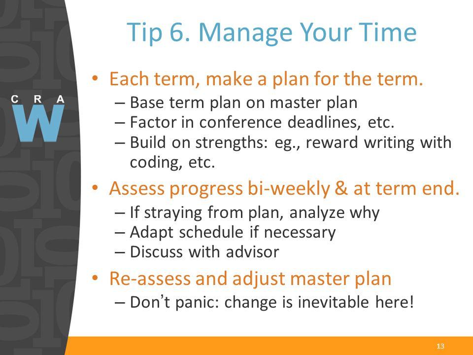 13 Each term, make a plan for the term.