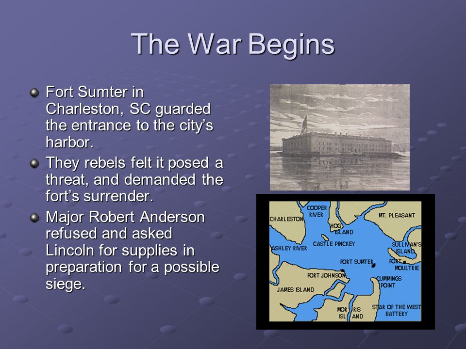 The War Begins Fort Sumter in Charleston, SC guarded the entrance to the citys harbor.