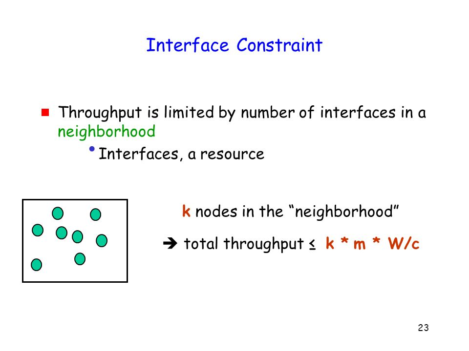 23 Interface Constraint Throughput is limited by number of interfaces in a neighborhood Interfaces, a resource k nodes in the neighborhood total throughput k * m * W/c