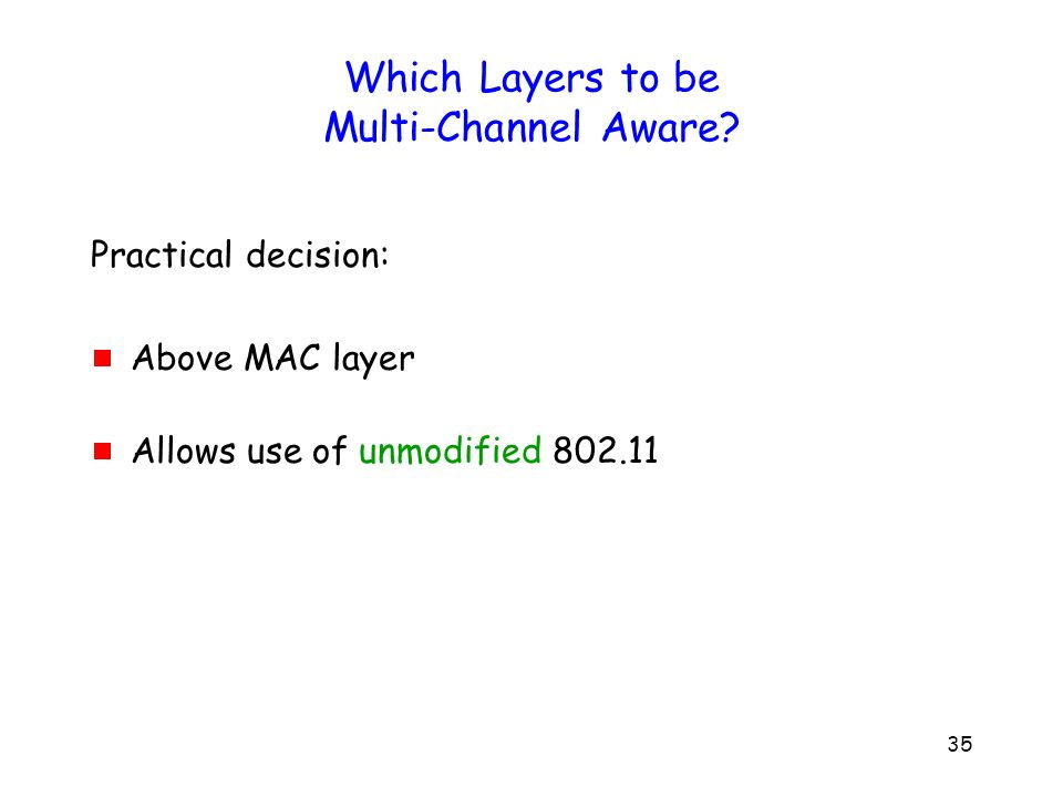 35 Which Layers to be Multi-Channel Aware.