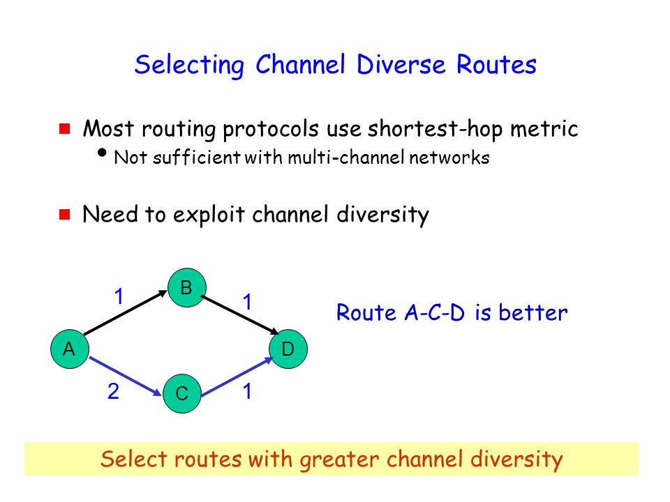38 Selecting Channel Diverse Routes Most routing protocols use shortest-hop metric Not sufficient with multi-channel networks Need to exploit channel diversity A B C D 1 1 21 Route A-C-D is better Select routes with greater channel diversity