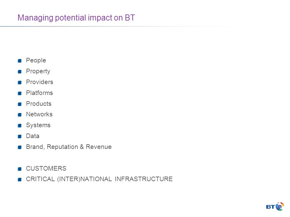 Managing potential impact on BT People Property Providers Platforms Products Networks Systems Data Brand, Reputation & Revenue CUSTOMERS CRITICAL (INTER)NATIONAL INFRASTRUCTURE