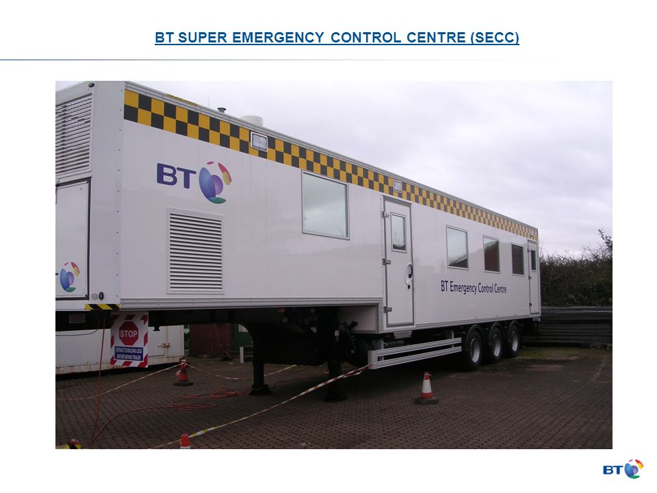 BT SUPER EMERGENCY CONTROL CENTRE (SECC) 13.5 m x 2.5m Step frame semi trailer based at Coventry ROMES site