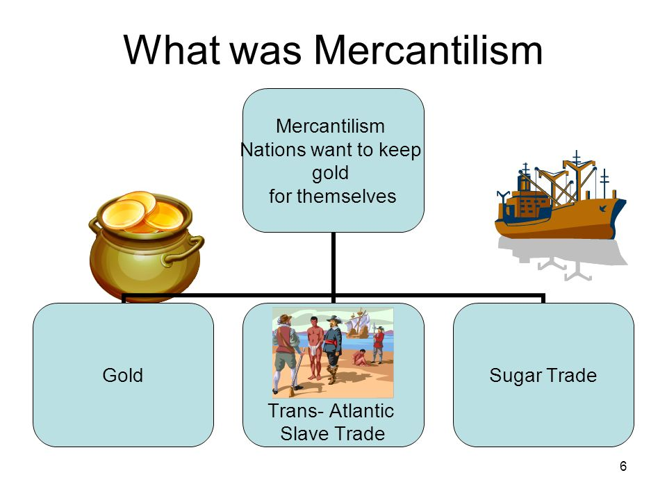 6 What was Mercantilism Mercantilism Nations want to keep gold for themselves Gold Trans- Atlantic Slave Trade Sugar Trade