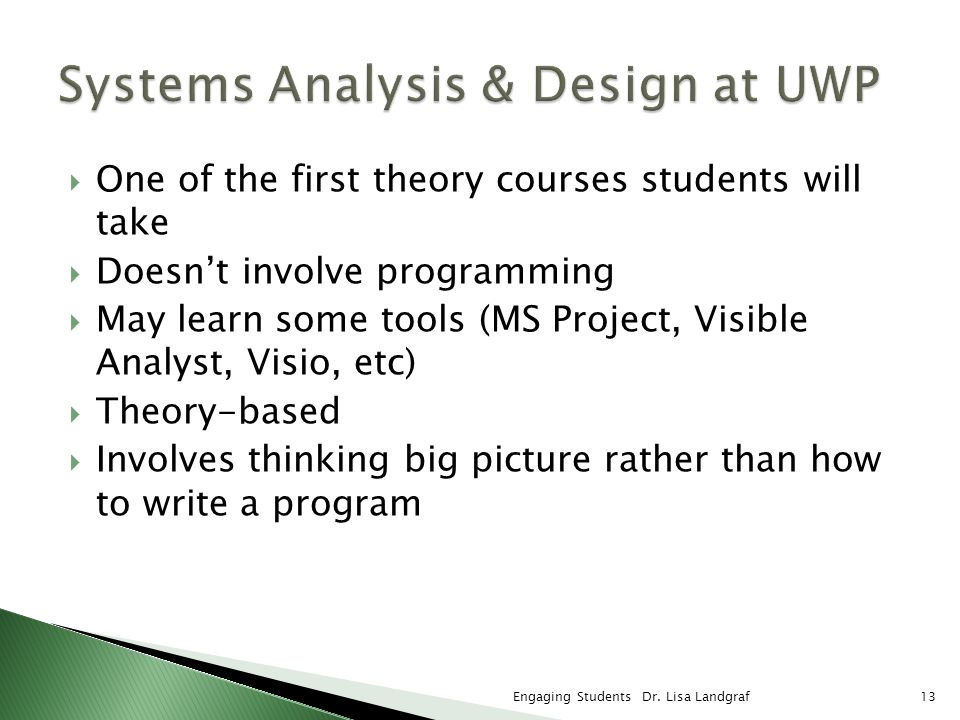 One of the first theory courses students will take Doesnt involve programming May learn some tools (MS Project, Visible Analyst, Visio, etc) Theory-ba