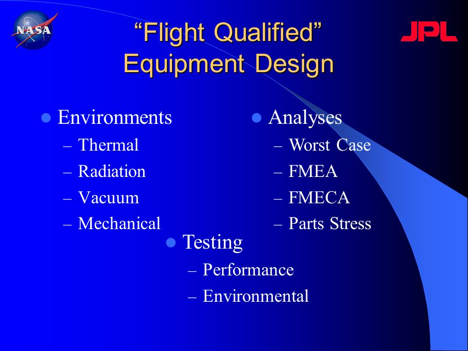 Flight Qualified Equipment Design Environments – Thermal – Radiation – Vacuum – Mechanical Analyses – Worst Case – FMEA – FMECA – Parts Stress Testing