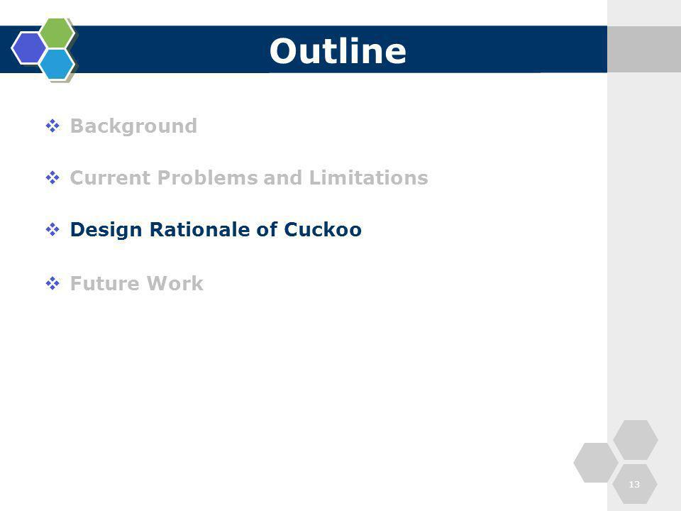 Outline Background Current Problems and Limitations Design Rationale of Cuckoo Future Work 13