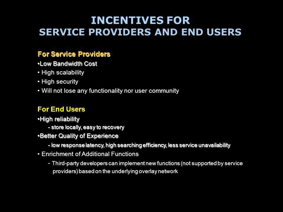 INCENTIVES FOR SERVICE PROVIDERS AND END USERS For Service Providers Low Bandwidth CostLow Bandwidth Cost High scalability High security Will not lose any functionality nor user community For End Users High reliabilityHigh reliability - store locally, easy to recovery - store locally, easy to recovery Better Quality of ExperienceBetter Quality of Experience - low response latency, high searching efficiency, less service unavailability - low response latency, high searching efficiency, less service unavailability Enrichment of Additional Functions - Third-party developers can implement new functions (not supported by service providers) based on the underlying overlay network
