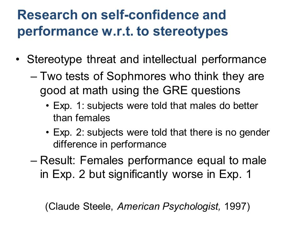Research on self-confidence and performance w.r.t.
