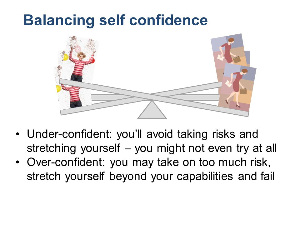 Balancing self confidence Under-confident: youll avoid taking risks and stretching yourself – you might not even try at all Over-confident: you may take on too much risk, stretch yourself beyond your capabilities and fail