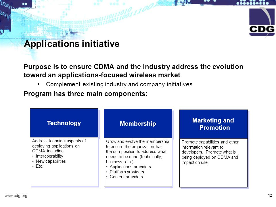 www.cdg.org 12 Technology Address technical aspects of deploying applications on CDMA, including: Interoperability New capabilities Etc.