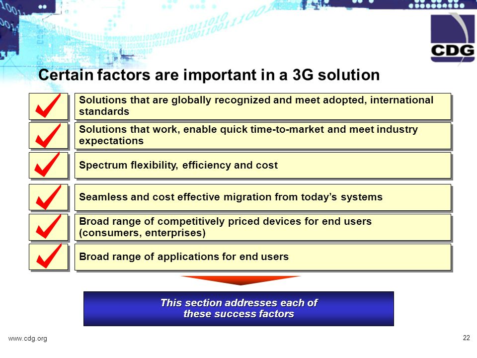 www.cdg.org 22 Certain factors are important in a 3G solution This section addresses each of these success factors Solutions that are globally recognized and meet adopted, international standards Solutions that work, enable quick time-to-market and meet industry expectations Spectrum flexibility, efficiency and cost Broad range of competitively priced devices for end users (consumers, enterprises) Broad range of applications for end users Seamless and cost effective migration from todays systems
