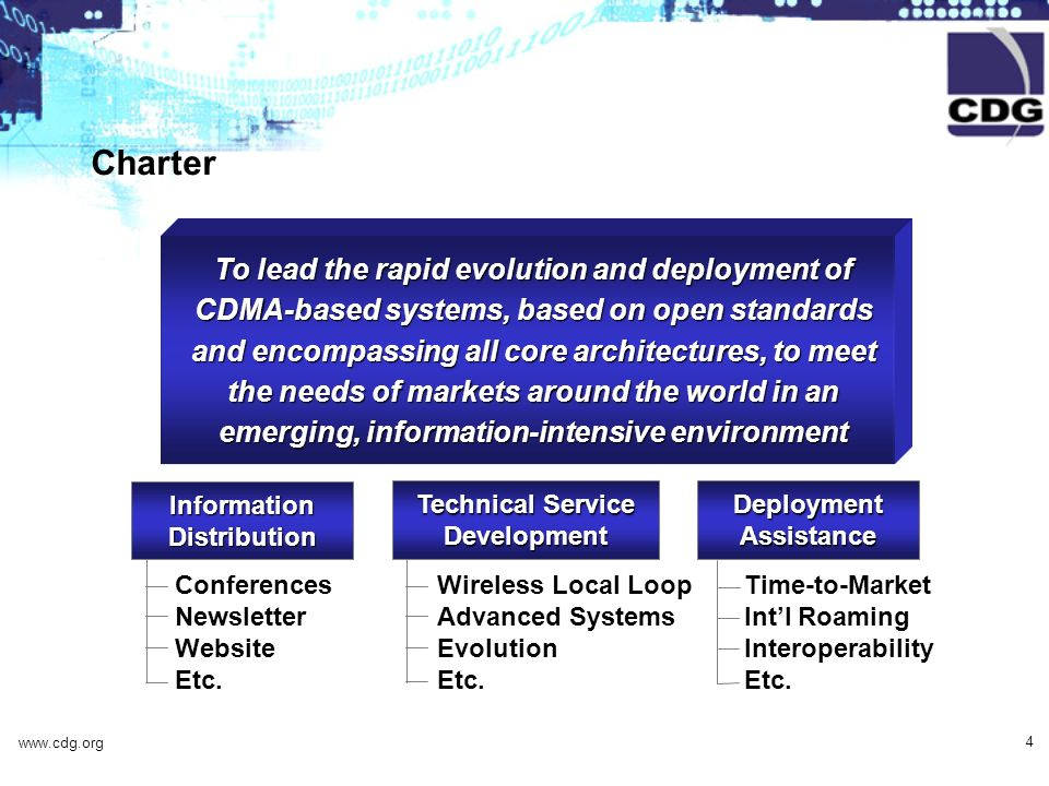 www.cdg.org 4 Information Distribution Conferences Newsletter Website Etc. Technical Service Development Wireless Local Loop Advanced Systems Evolutio