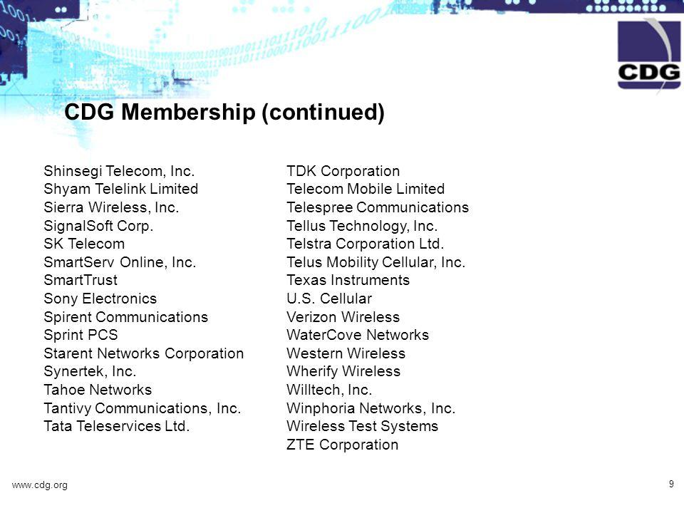 www.cdg.org 9 CDG Membership (continued) Shinsegi Telecom, Inc.