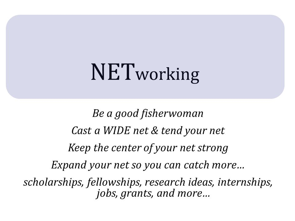 net WORK ing May feel like work today With practice, will become natural & fun.
