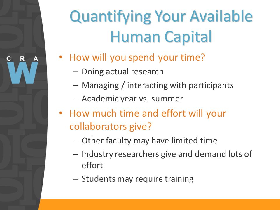 Quantifying Your Available Human Capital How will you spend your time.