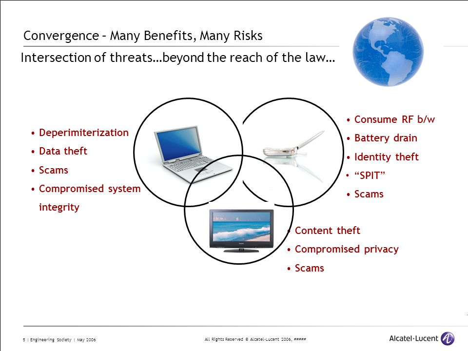 All Rights Reserved © Alcatel-Lucent 2006, ##### 16 | Engineering Society | May 2006 Summary We actually have the know-how to improve the state of security It is needed more than ever – especially as systems get more complex and we have greater dependency on these systems By applying the ISO 2700X with X.805/ISO-18028 standards and Integrity Measurements, we can: Baseline the state of security Have a consistent way to measure it Consistent application Completeness Repeatable Scales to size and complexity of present and future networks