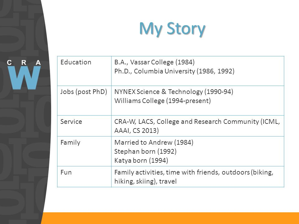My Story EducationB.A., Vassar College (1984) Ph.D., Columbia University (1986, 1992) Jobs (post PhD)NYNEX Science & Technology (1990-94) Williams Col