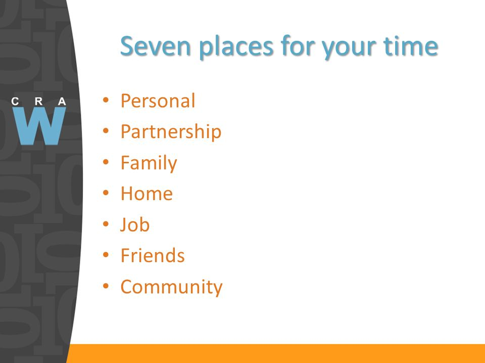 Seven places for your time Personal Partnership Family Home Job Friends Community