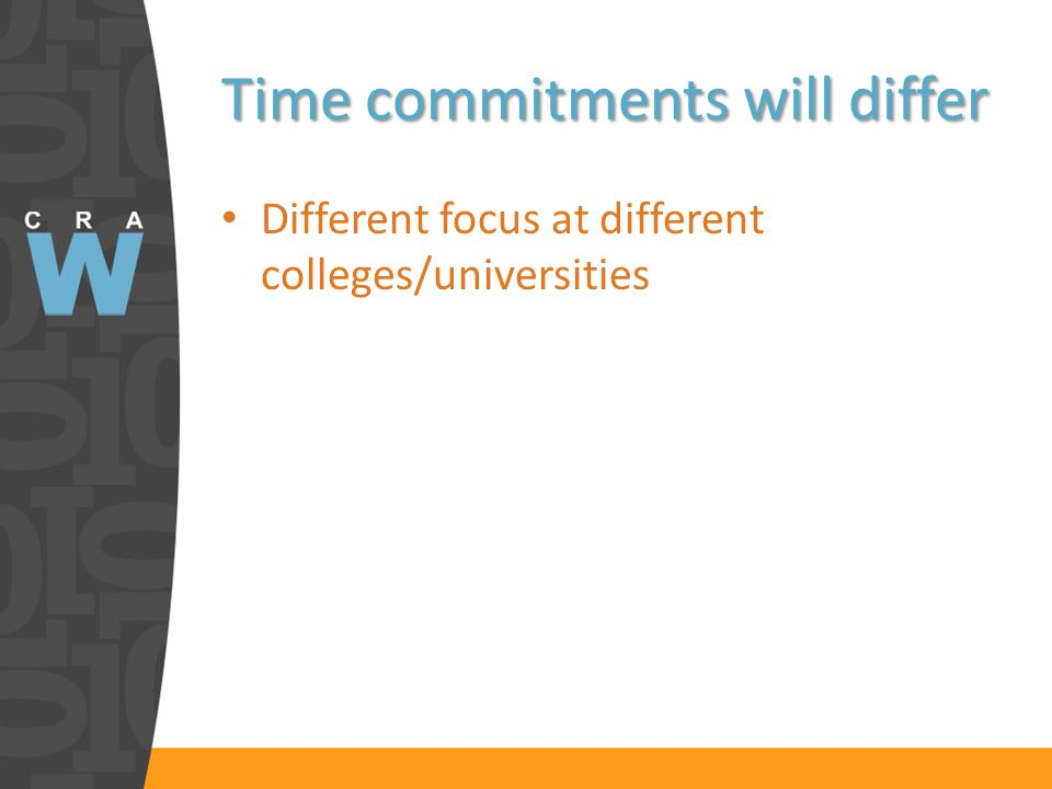 Time commitments will differ Different focus at different colleges/universities