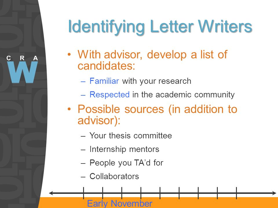 Identifying Letter Writers With advisor, develop a list of candidates: –Familiar with your research –Respected in the academic community Possible sources (in addition to advisor): –Your thesis committee –Internship mentors –People you TAd for –Collaborators Early November