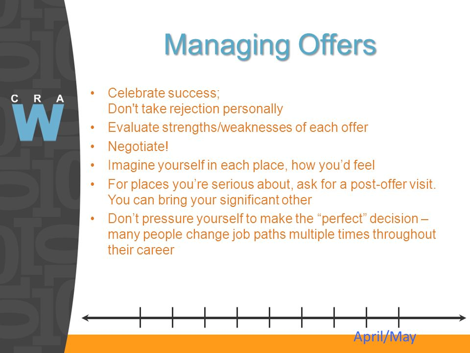 Managing Offers Celebrate success; Don't take rejection personally Evaluate strengths/weaknesses of each offer Negotiate! Imagine yourself in each pla