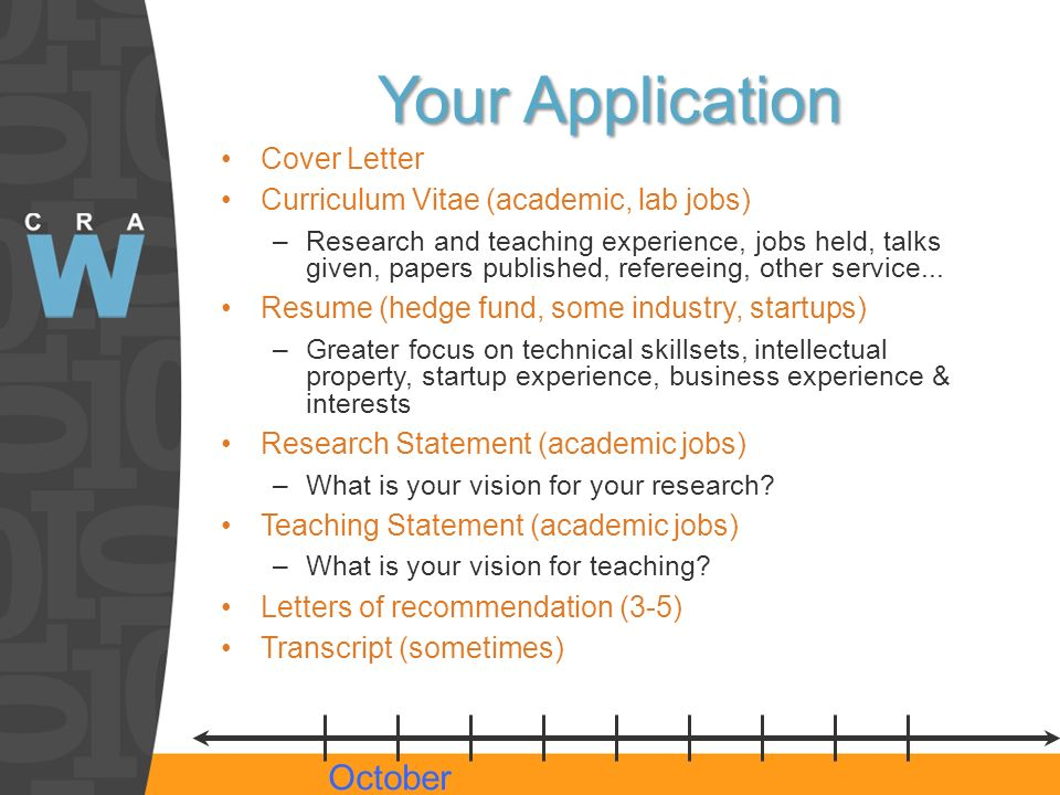 Your Application Cover Letter Curriculum Vitae (academic, lab jobs) –Research and teaching experience, jobs held, talks given, papers published, refereeing, other service...