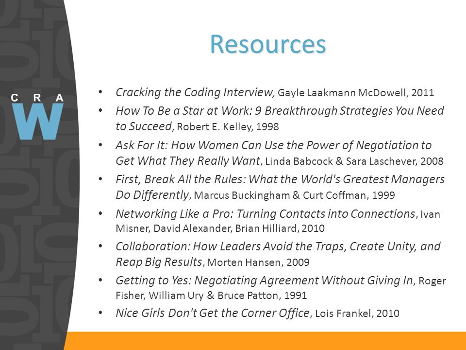 Resources Cracking the Coding Interview, Gayle Laakmann McDowell, 2011 How To Be a Star at Work: 9 Breakthrough Strategies You Need to Succeed, Robert E.