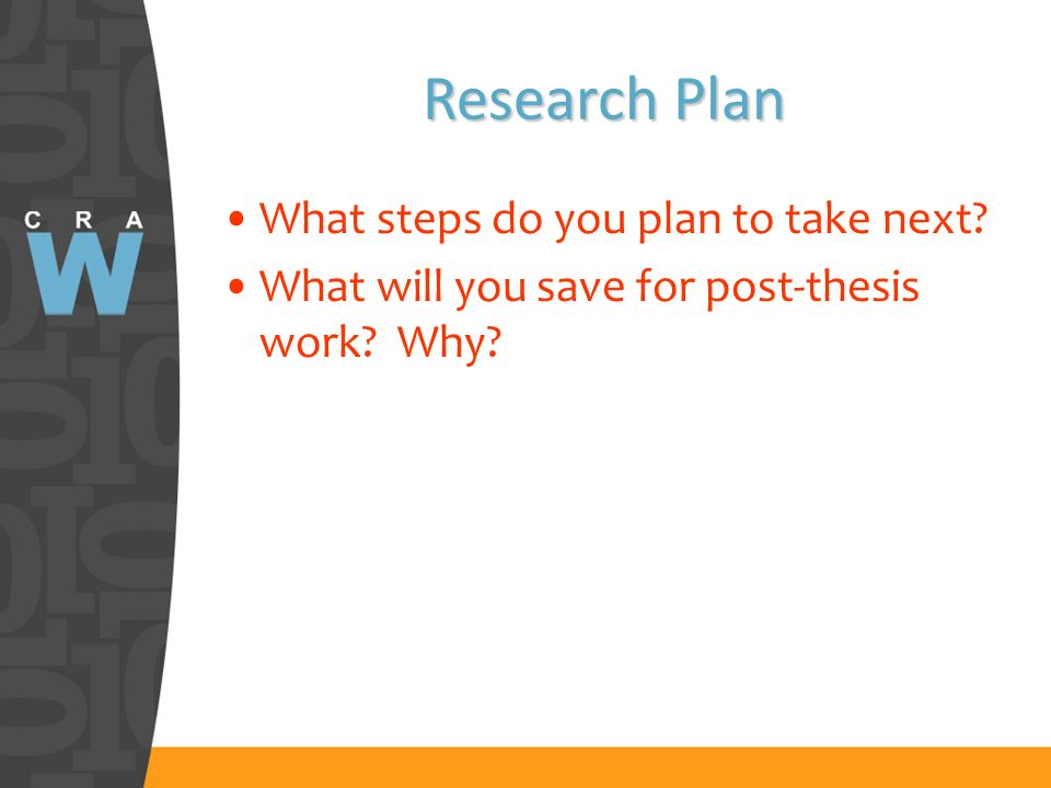 Research Plan What steps do you plan to take next What will you save for post-thesis work Why