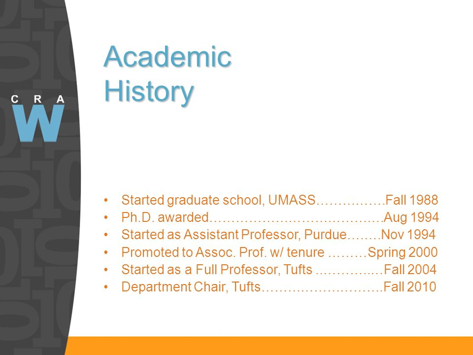 Academic History Started graduate school, UMASS…………….Fall 1988 Ph.D.