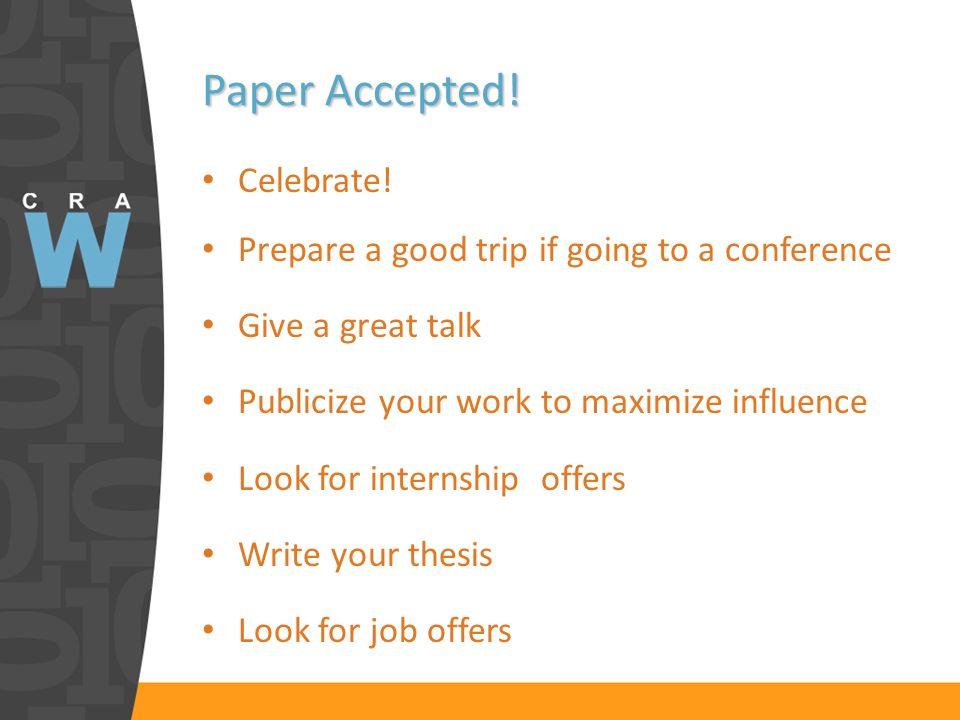 Paper Accepted. Celebrate.