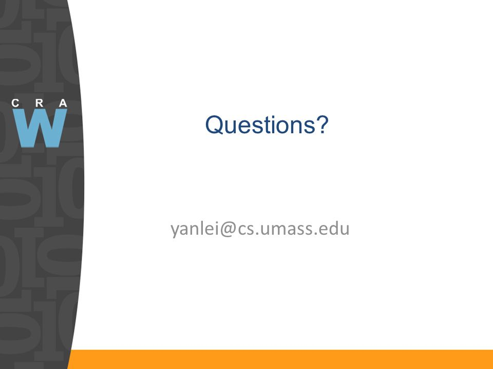 yanlei@cs.umass.edu Questions?
