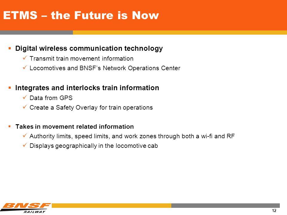 11 Communication Recap Past Present Future Paper & Phone Fax and IVR EDI Email Web Tools Scanners Sensors Voice Recognition GPS / ETMS RFID / eSeals O