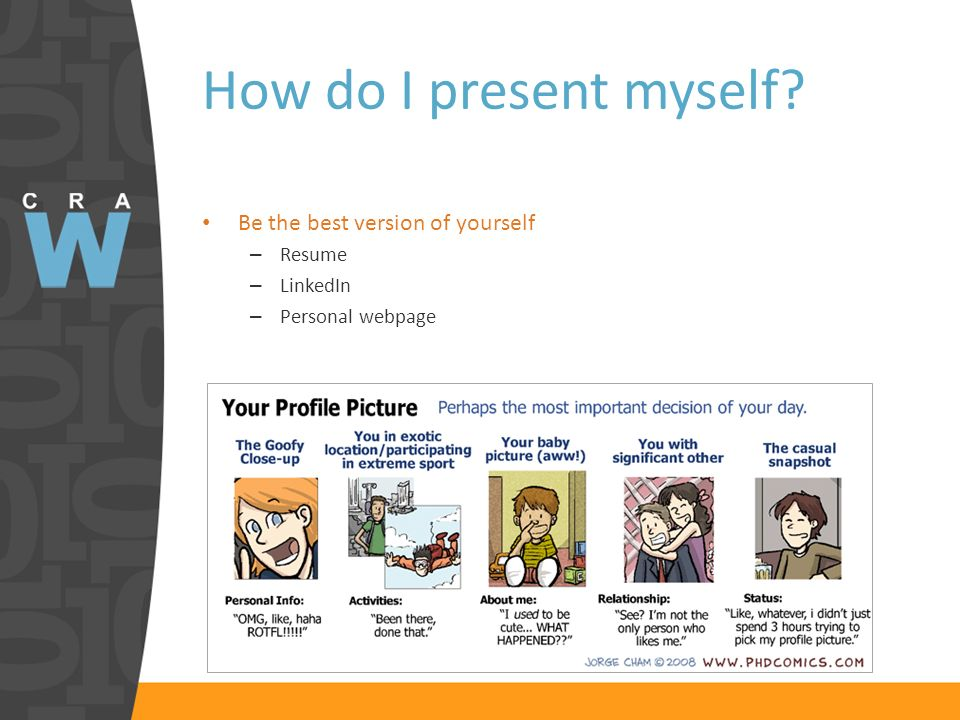 How do I present myself? Be the best version of yourself – Resume – LinkedIn – Personal webpage