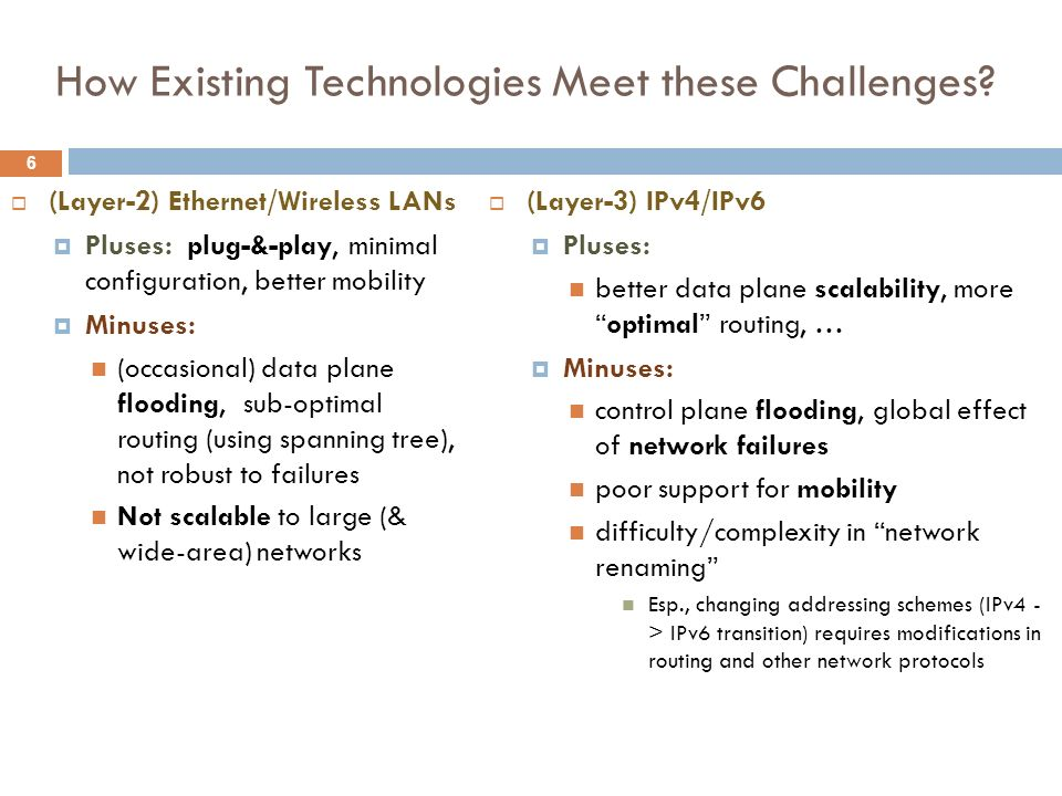 6 How Existing Technologies Meet these Challenges? (Layer-2) Ethernet/Wireless LANs Pluses: plug-&-play, minimal configuration, better mobility Minuse