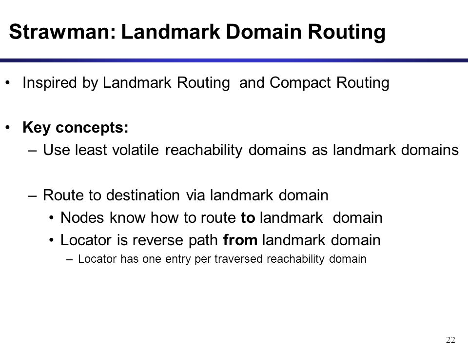 Strawman: Landmark Domain Routing 22 Inspired by Landmark Routing and Compact Routing Key concepts: –Use least volatile reachability domains as landma