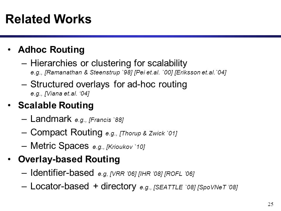 Related Works Adhoc Routing –Hierarchies or clustering for scalability e.g., [Ramanathan & Steenstrup `98] [Pei et.al.