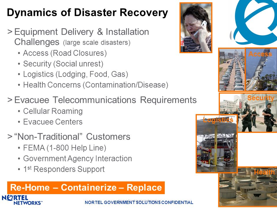 Nortel Confidential Information NORTEL GOVERNMENT SOLUTIONS CONFIDENTIAL 14 >Equipment Delivery & Installation Challenges (large scale disasters) Acce