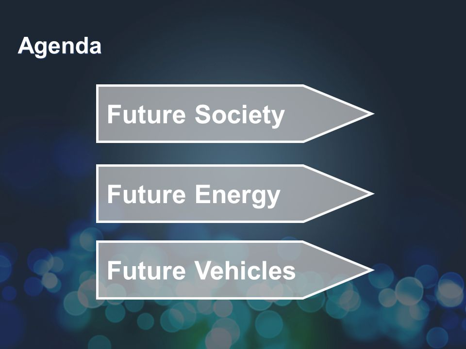Agenda Future Energy Future Vehicles Future Society