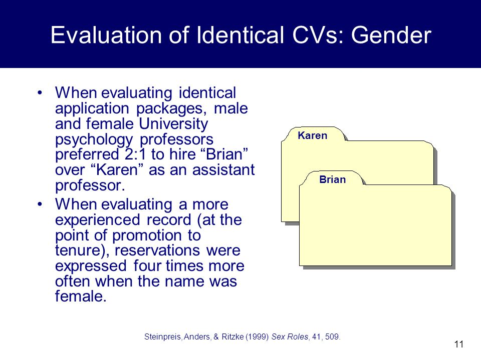 11 Evaluation of Identical CVs: Gender When evaluating identical application packages, male and female University psychology professors preferred 2:1 to hire Brian over Karen as an assistant professor.